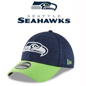 Men's New Era Navy/Neon Green Seattle Seahawks hat